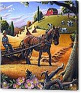 Raking Hay Field Rustic Country Farm Folk Art Landscape Acrylic Print