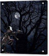 Raven and Rat Skeleton in Moonlight - Halloween Acrylic Print
