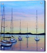 Sailboats At Dusk #10 Acrylic Print