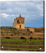 San Dimitri chapel against a cloudy backdrop, Gozo Malta Acrylic Print