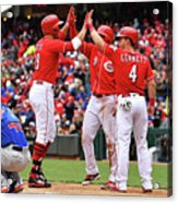 Scooter Gennett and Joey Votto Acrylic Print