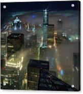 Seattle Night Fog Acrylic Print