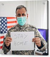 Senior military soldier holding paper with message stay home Acrylic Print