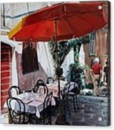Red Umbrella Outdoor Cafe Acrylic Print