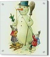 Snowmann and Rabbits Acrylic Print