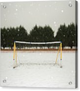 Soccer net in winter Acrylic Print