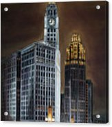 The Wrigley Building and Tribune Tower Acrylic Print