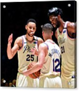 T.j. Mcconnell, Ben Simmons, and Joel Embiid Acrylic Print