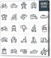 Transportation Thin Line Icons - Editable Stroke Acrylic Print