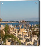 Umbrellas and beach chairs on the beach, Cannes, French Riviera Acrylic Print