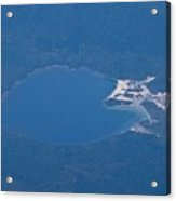 Usori lake and Mount Osore daytime aerial view from airplane Acrylic Print