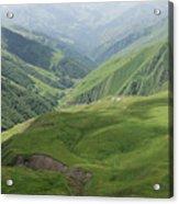 Valley in the Caucasus Mountains, Khevsureti, Georgia Acrylic Print