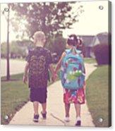 Walking to school Acrylic Print