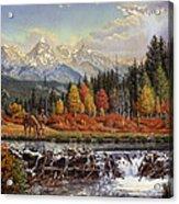 Western Mountain Landscape Autumn Mountain Man Trapper Beaver Dam Frontier Americana Oil Painting Acrylic Print