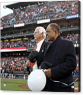 Willie Mays And Gaylord Perry Acrylic Print