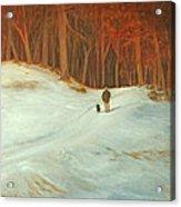 Winter Walk with Dog Acrylic Print
