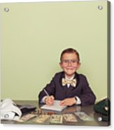 Young Boy Accountant Records Taxes to be Paid Acrylic Print