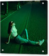 Young woman in sunglasses in neon lighting Acrylic Print
