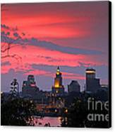 4th Of July Sunset Providence Ri Canvas Print by Butch Lombardi