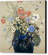 A Vase Of Blue Flowers Canvas Print by Odilon Redon