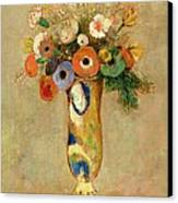 Flowers In A Painted Vase Canvas Print by Odilon Redon