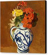 Geraniums And Other Flowers In A Stoneware Vase Canvas Print