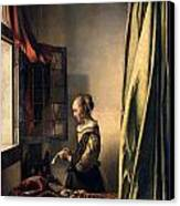 Girl Reading A Letter By An Open Window Canvas Print by Johannes Vermeer