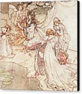 Illustration For A Fairy Tale Fairy Queen Covering A Child With Blossom Canvas Print by Arthur Rackham