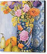 Iris And Pinks In A Japanese Vase With Pears Canvas Print by Joan Thewsey