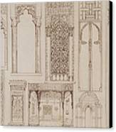 Islamic And Moorish Design For Shutters And Divans Canvas Print by Jean Francois Albanis de Beaumont