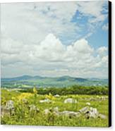 Large Blueberry Field With Mountains And Blue Sky In Maine Canvas Print by Keith Webber Jr