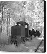 Locomotive With Wagons In Infrared Light In The Forest In Netherlands Canvas Print by Ronald Jansen