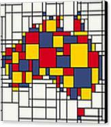 Mondrian Inspired Australia Map Canvas Print