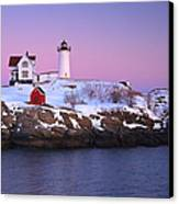Nubble Light Under A Pastel Winter Sky Canvas Print