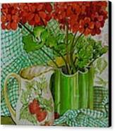 Red Geranium With The Strawberry Jug And Cherries Canvas Print by Joan Thewsey