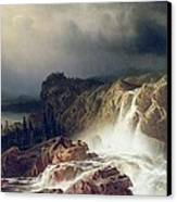 Rocky Landscape With Waterfall In Smaland Canvas Print by Marcus Larson