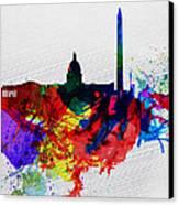 Washington Dc Watercolor Skyline 1 Canvas Print by Naxart Studio