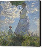 Woman With A Parasol Madame Monet And Her Son Canvas Print by Claude Monet