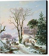 Wooded Winter River Landscape Canvas Print by  Andreas Schelfhout