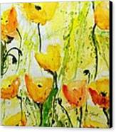 Yellow Poppy 2 - Abstract Floral Painting Canvas Print