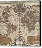 1691 Sanson Map Of The World On Hemisphere Projection Canvas Print