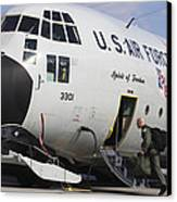 A Lc-130h Hercules Of The New York Air Canvas Print by Timm Ziegenthaler