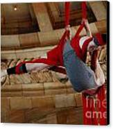 Aerial Ribbon Performer At Pennsylvanian Grand Rotunda Canvas Print