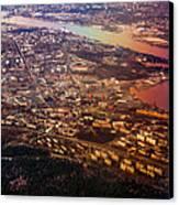 Aerial View Of Riga. Latvia. Rainbow Earth Canvas Print by Jenny Rainbow