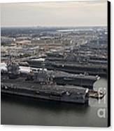 Aircraft Carriers In Port At Naval Canvas Print by Stocktrek Images