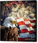 Bald Eagle And Fireworks Canvas Print by Michael Shake