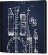 Banjo Patent Drawing From 1882 - Blue Canvas Print
