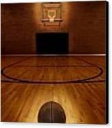 Basketball And Basketball Court Canvas Print by Lane Erickson