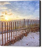 Beach Fences Canvas Print by Debra and Dave Vanderlaan