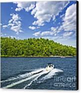 Boating On Lake Canvas Print by Elena Elisseeva